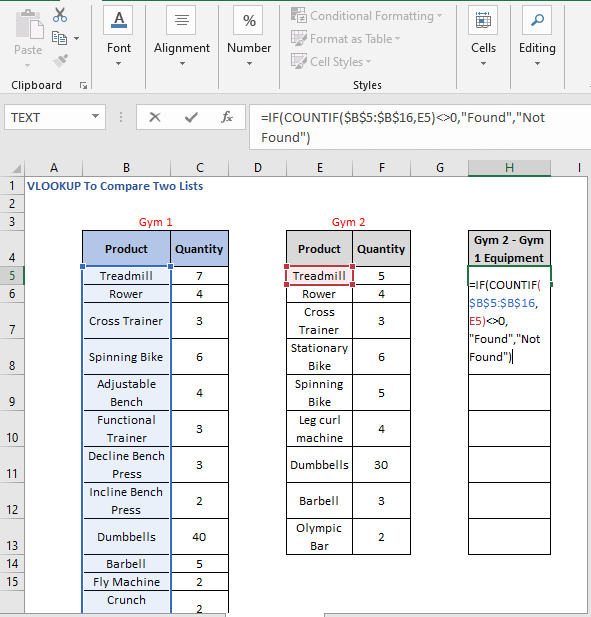 Alternative Formula - VLOOKUP To Compare Two Lists