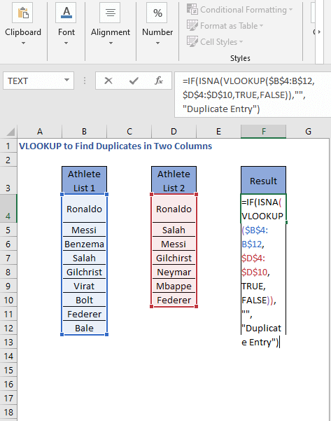ISNA - VLOOKUP Formula - VLOOKUP to Find Duplicates in Two Columns