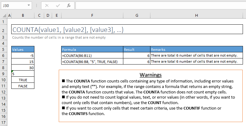 counta function excel syntax and examples