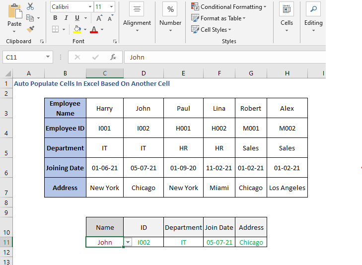 Populated list - HLOOKUP Formula - ID - Auto Populate Cells In Excel Based On Another Cell