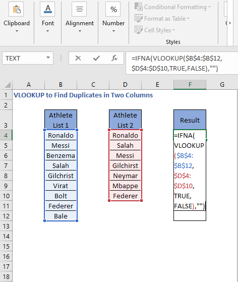 IFNA-VLOOKUP formula - VLOOKUP to Find Duplicates in Two Columns
