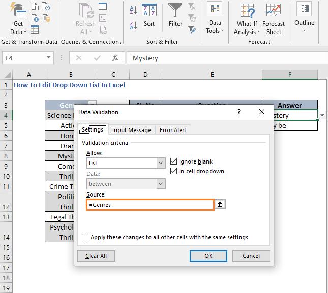 Name in range - How To Edit Drop Down List In Excel