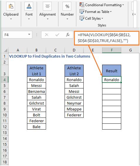 IFNA-VLOOKUP formula result - VLOOKUP to Find Duplicates in Two Columns