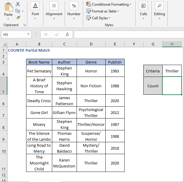 Criteria value - COUNTIF Partial Match