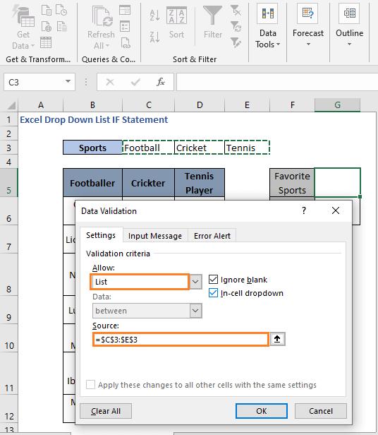 Initial list - Excel Drop Down List IF Statement