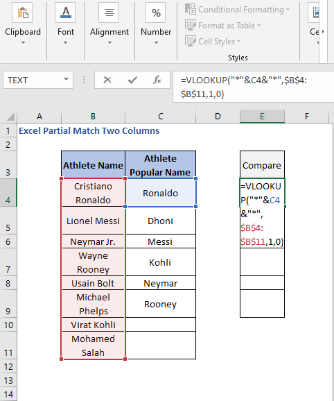VLOOKUP formula to column partial match - Excel Partial Match Two Columns
