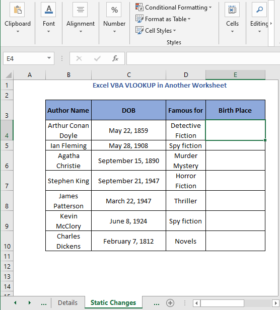 Birth Place column - Excel VBA VLOOKUP in Another Worksheet