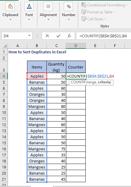 COUNTIF formula - How to Sort Duplicates in Excel