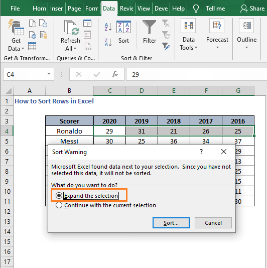 Select expand selection - How to Sort Rows in Excel