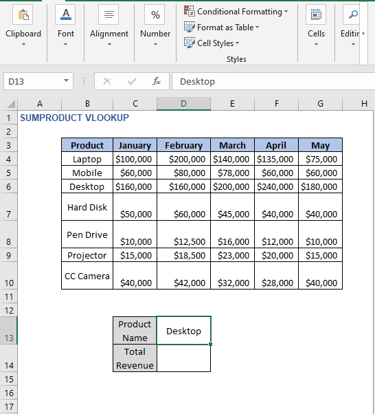Criteria value - SUMPRODUCT VLOOKUP