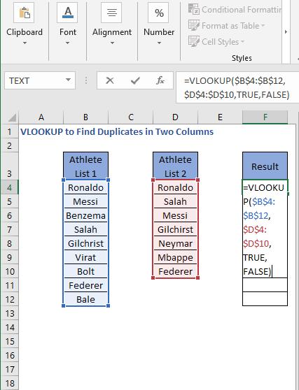 VLOOKUP Formula - VLOOKUP to Find Duplicates in Two Columns