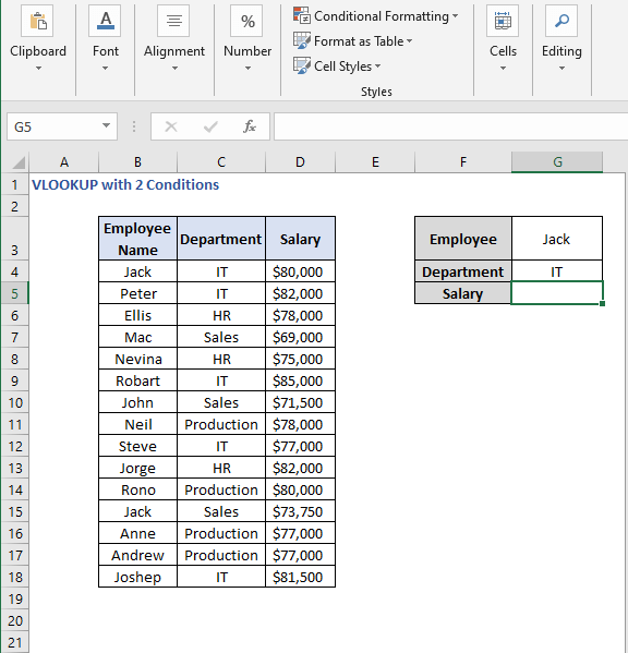 Criteria Value Set - VLOOKUP with 2 Conditions
