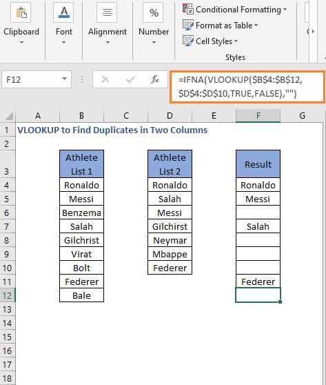 IFNA-VLOOKUP formula result 2- VLOOKUP to Find Duplicates in Two Columns