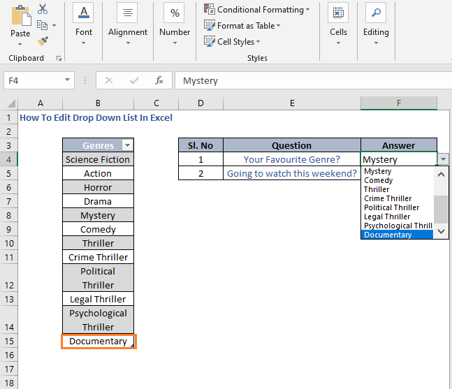 Automatically updated list - How To Edit Drop Down List In Excel