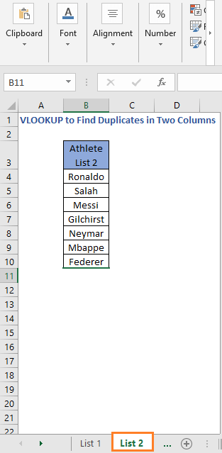 List 2 - VLOOKUP to Find Duplicates in Two Columns