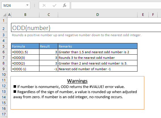 odd function excel syntax and examples