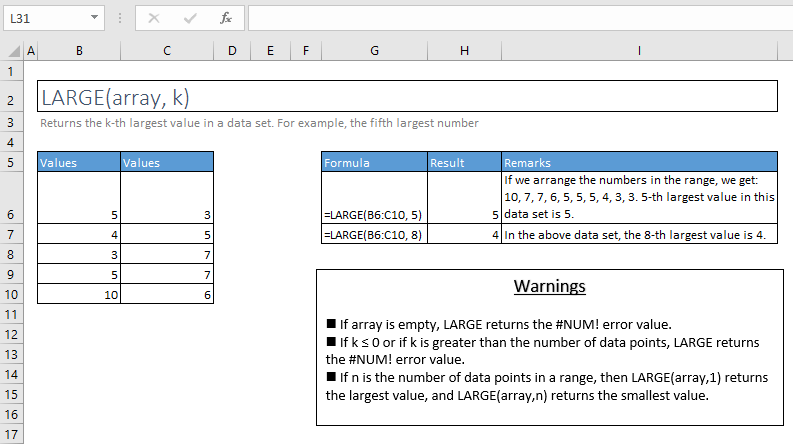 large function excel syntax and examples