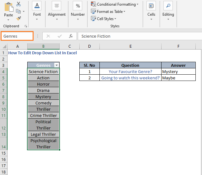Name Box - How To Edit Drop Down List In Excel