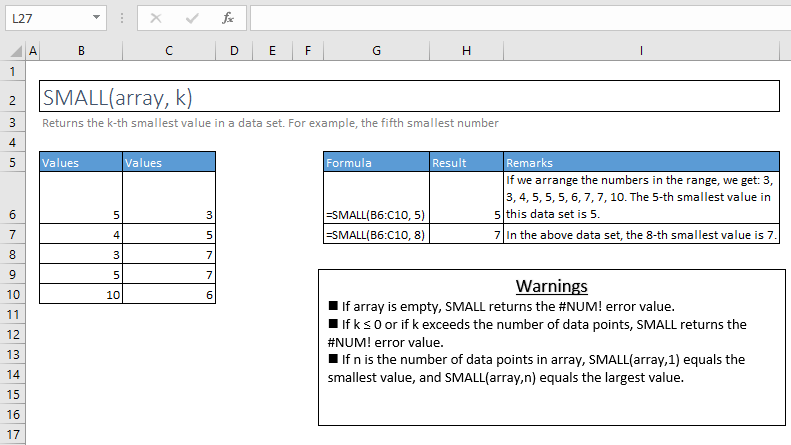 small function excel syntax and examples