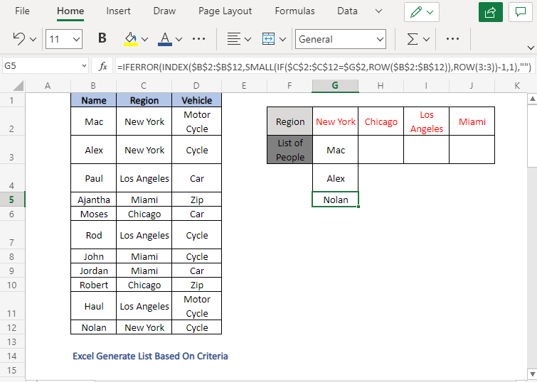 First list - Excel Generate List Based On Criteria
