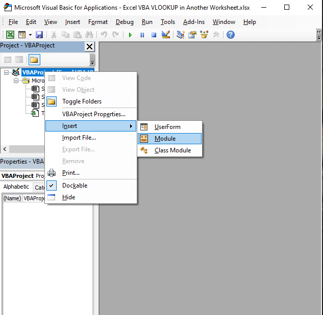 Module - Excel VBA VLOOKUP in Another Worksheet