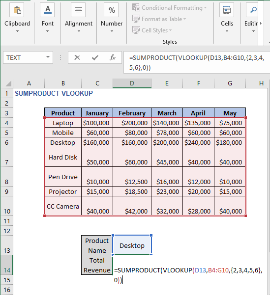 Formula for Example 1 - SUMPRODUCT VLOOKUP