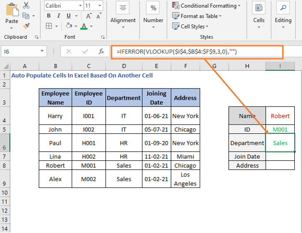 VLOOKUP Formula - Department - Auto Populate Cells In Excel Based On Another Cell