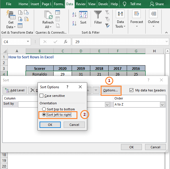 Sort left to right - How to Sort Rows in Excel