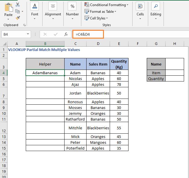 Concatenate Helper column - VLOOKUP Partial Match Multiple Values