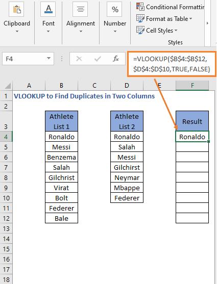 VLOOKUP Formula result - VLOOKUP to Find Duplicates in Two Columns