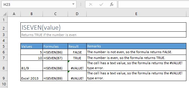 iseven function excel syntax and examples