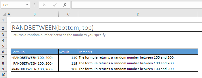 randbetween function excel syntax and examples