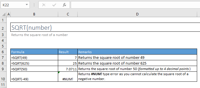 sqrt function excel syntax and examples