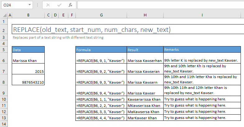 replace function excel syntax and examples