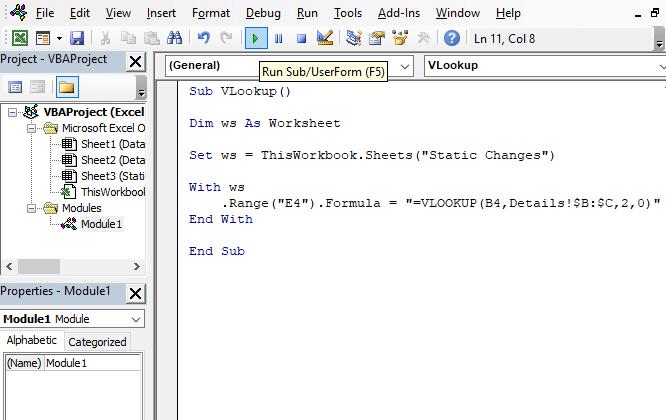 Static Code - Excel VBA VLOOKUP in Another Worksheet