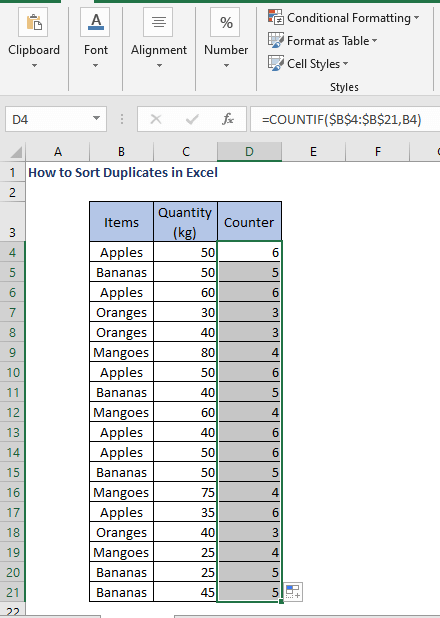 COUNTIF function AutoFill - How to Sort Duplicates in Excel
