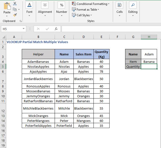 Criteria value - VLOOKUP Partial Match Multiple Values