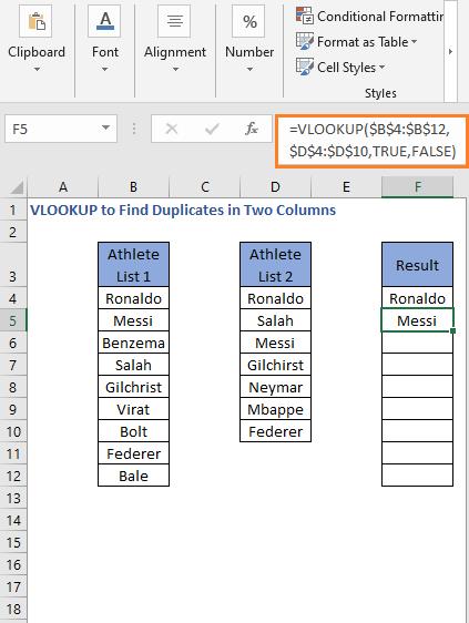 VLOOKUP Formula result 2 - VLOOKUP to Find Duplicates in Two Columns