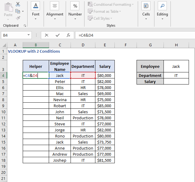 Concatenate - VLOOKUP with 2 Conditions