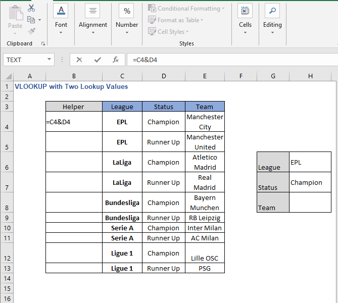 Helper column fill formula - VLOOKUP with Two Lookup Values