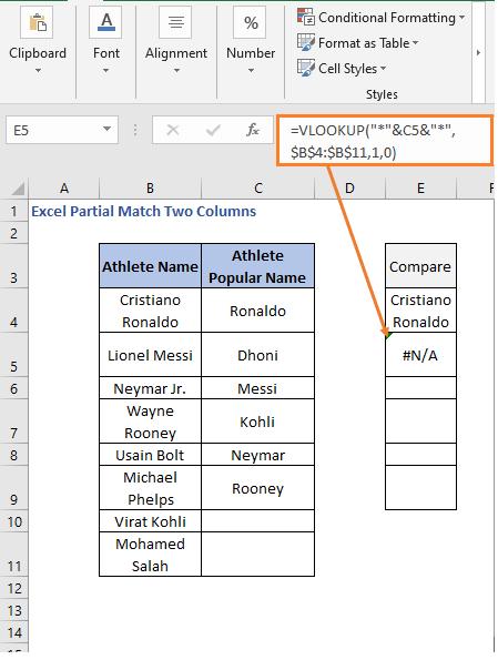 Error return in VLOOKUP formula - Excel Partial Match Two Columns