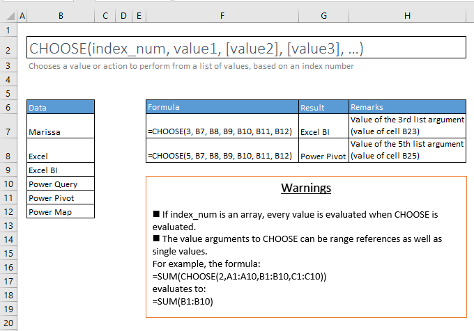 choose function excel syntax and examples