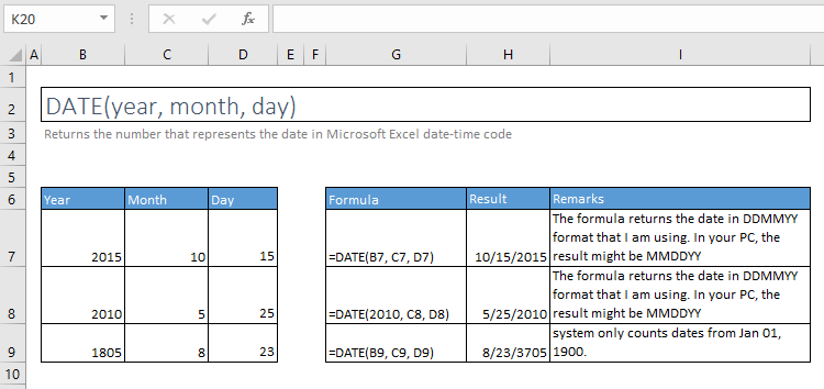 date function excel syntax and examples