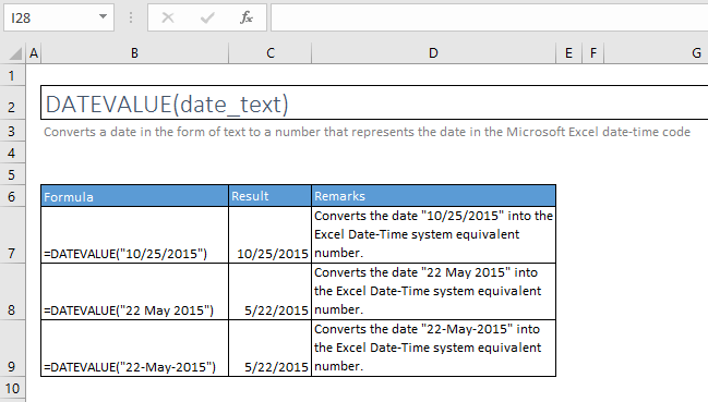 datevalue function excel syntax and examples