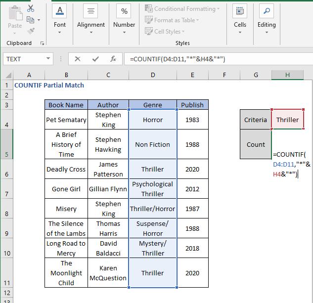 Optimized COUNTIF Formula - COUNTIF Partial Match