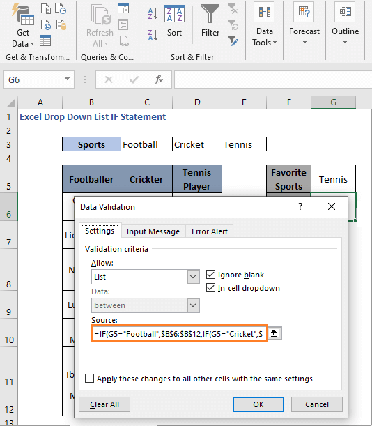 IF Formula - direct cell reference - Excel Drop Down List IF Statement