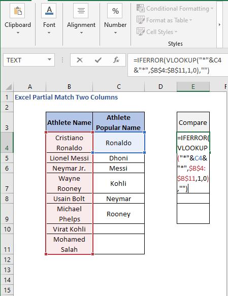 IFERROR- VLOOKUP formula - Excel Partial Match Two Columns