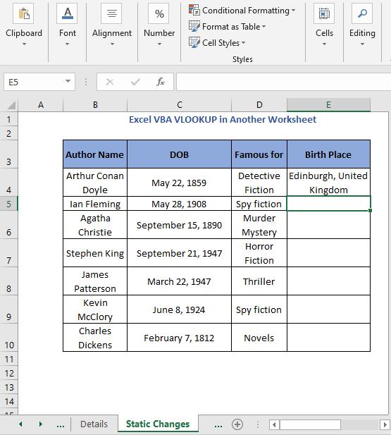 Code result - Excel VBA VLOOKUP in Another Worksheet