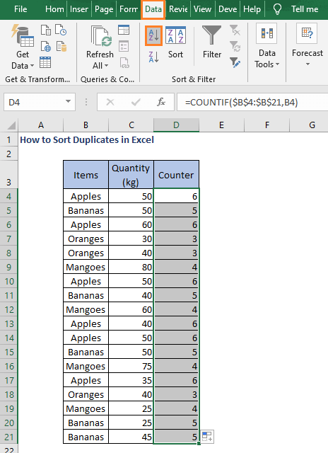 Select column and A to Z - How to Sort Duplicates in Excel
