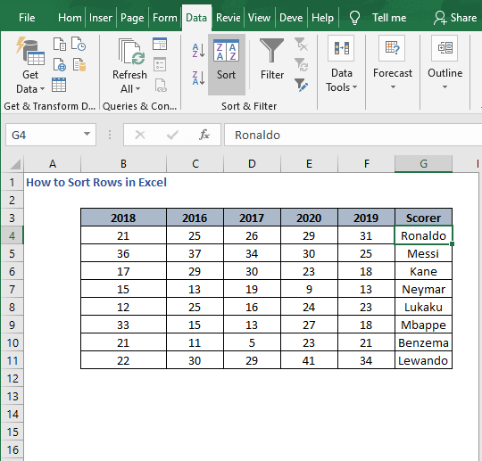 Columns shift - How to Sort Rows in Excel